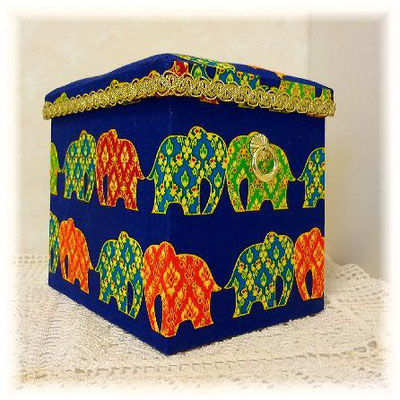 Fabric Box-Elephants in Thailand-2