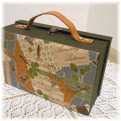 Fabric box with leather handle -Cartonnage