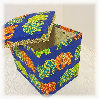 Fabric box with elephants pattern (Thailand)