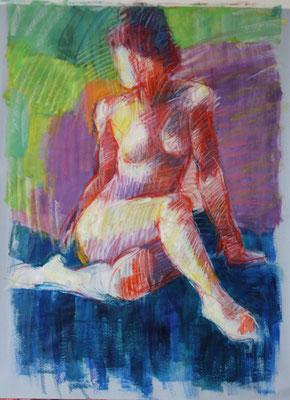 Croisement, acrylique et pastels gras, 100/70cm