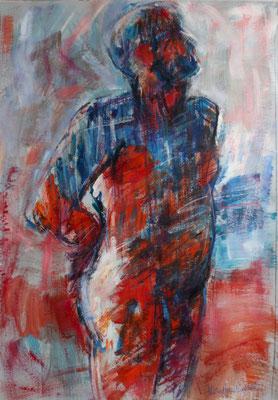 Rouge, bleu, blanc, en avant, acrylique et pastels gras, 100/70cm