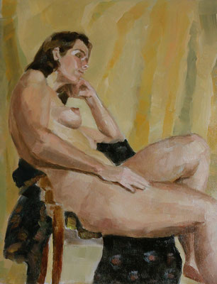 """""""Flore au rideau jaune"""", huile/toile, 2016"""