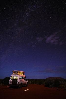 unser Campingspot unter der Milchstraße & mit Blick auf den Ayers Rock - perfekt