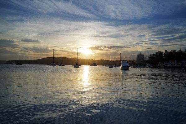 Sonnenuntergang an der Manly Wharf