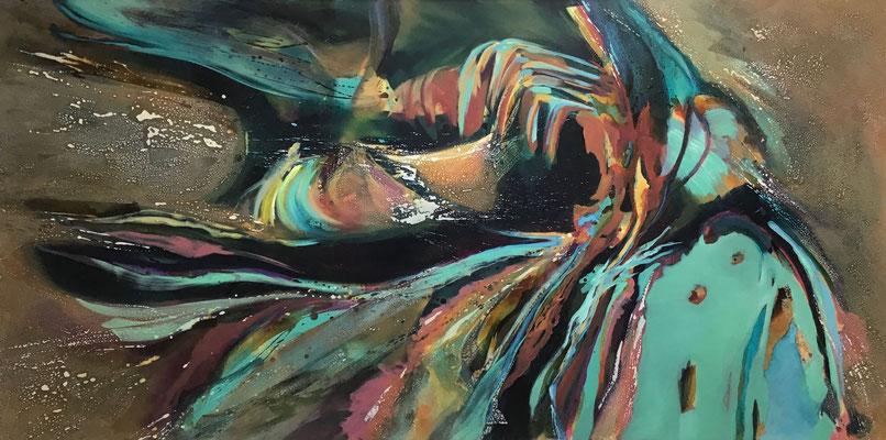 closeup 2 | 120 x 290 cm | Öl und Mixedmedia auf LW | 2020