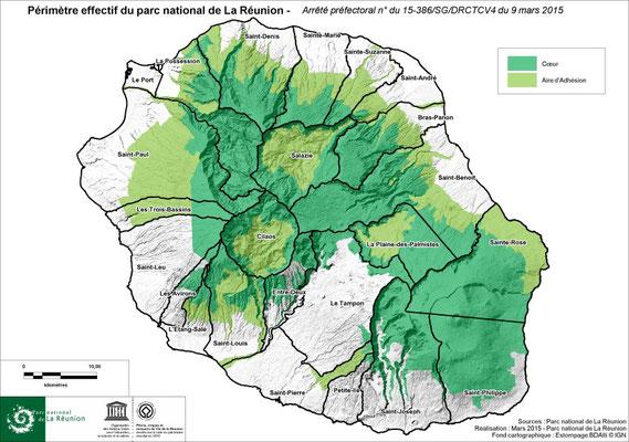 Périmètre effectif du Parc National de la Réunion