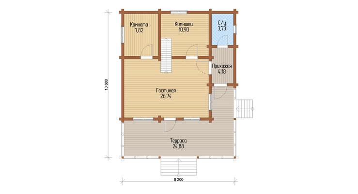 поэтажный план 1 этажа шале 70, Le Chalet 70