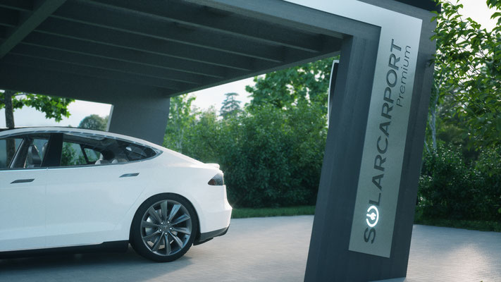 Solarcarport mit Tesla