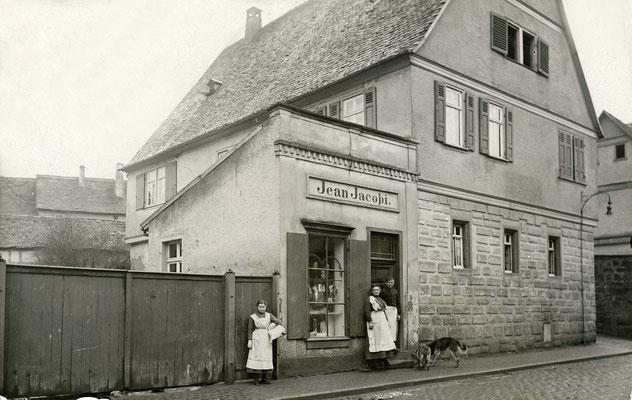 Die Metzgerei des Jean Jacobi, Frankfurter Str. 1 ca. 1925 (Stadtarchiv Bad Vilbel)
