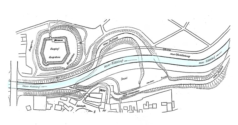 Der Plan verdeutlicht die Veränderungen im Bereich der Burg und der alten Mühle (Stadtarchiv Bad Vilbel)