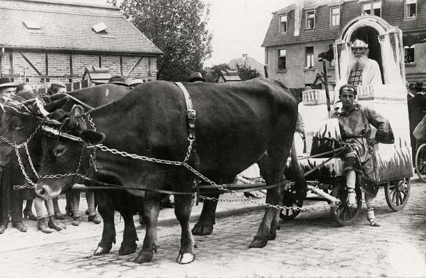 Eröffnungsnummer, Wotan auf seinem Wägelchen, Ochsen vom Dottenfelder Hof (Stadtarchiv Bad Vilbel)