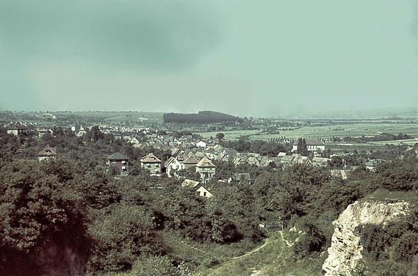 Blick vom Steinbruch auf die Innenstadt und das Russland-Gelände, ca. 1940 (Nachlass Muhl) - Bearbeitung Wolfram Dietz