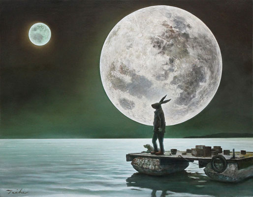 """art work,""""Two Moons"""",1oil on canvas,1,167×910(mm),by Taichi Hara 2017"""