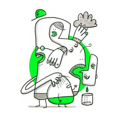 Illustration Krasse Freunde, Zeichnung mit Tusche auf Papier und digitaler Farbe von Frank Schulz Art, zeigt Fantasie Figuren im Gespräch