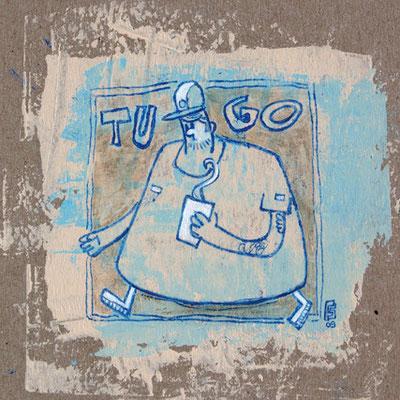 KAFFEE ZUM GEHEN, Acryl auf Pappe, 15 x 15 cm