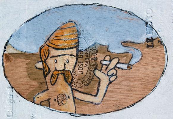 Rudi raucht mit freier Brust und großer Geste | Zeichnung in Acryltechnik auf Zigarrenkiste