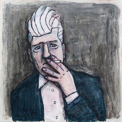 David Lynch raucht | Zeichnung in Acryltechnik auf Leinwand