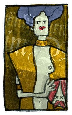 Judith I, Acryl Zeichnung Frau mit Kopf des Holofernes von Frank Schulz Art, Meisterwerk Reloaded nach Gustav Klimt