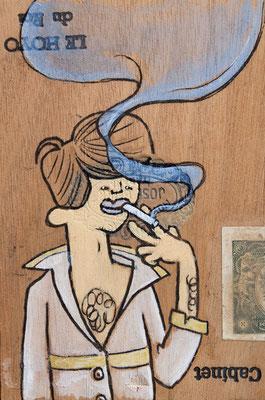 Mann im schicken Hemd und modischer Frisur raucht | Zeichnung in Acryltechnik auf Zigarrenkiste