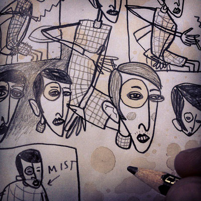 Detailansicht aus den Bleistiftskizzen für eine Radierung nach dem Motiv Sylvia von Harden von Otto Dix