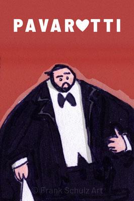 Luciano Pavarotti vor rotem Hintergrund, Digital kolorierte Zeichnung von Frank Schulz Art