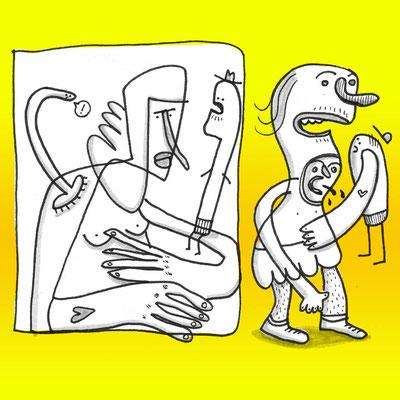 Illustration Typen aus dem Nichts, Zeichnung mit Tusche auf Papier und digitaler Farbe von Frank Schulz Art, zeigt Fantasie Figuren in Aktion vor Gelb