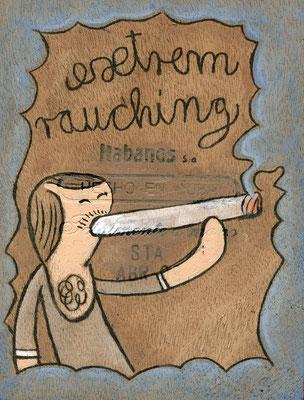 extrem rauching | Raucher mit fetter Zigarette | Acryltechnik auf Zigarrenkiste