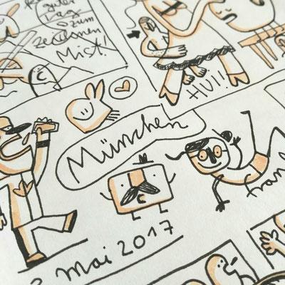 Zeichnung mit humorvollen Kreaturen im Comic Stil