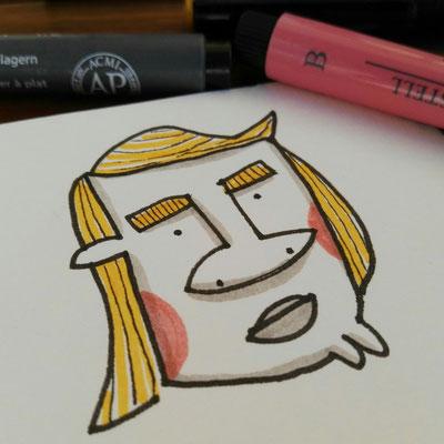 Illustration Mann mit Retro Frisur Detail, Zeichnung mit Tusche auf Papier und digitaler Farbe von Frank Schulz Art, zeigt einen Mann mit dicker Nase