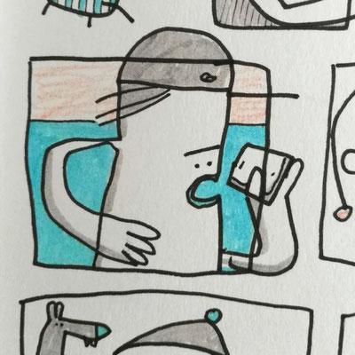 Skizzenbuch Seite Neujahr, Zeichnung mit Tusche auf Papier von Frank Schulz Art, zeigt comicartige Kreaturen und Tiere, mit Humor