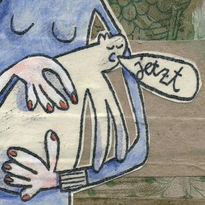 DA VINCI RELOADED – DAME MIT DEM KATZE (Detail), Acryl und Papier auf Leinwand © Frank Schulz