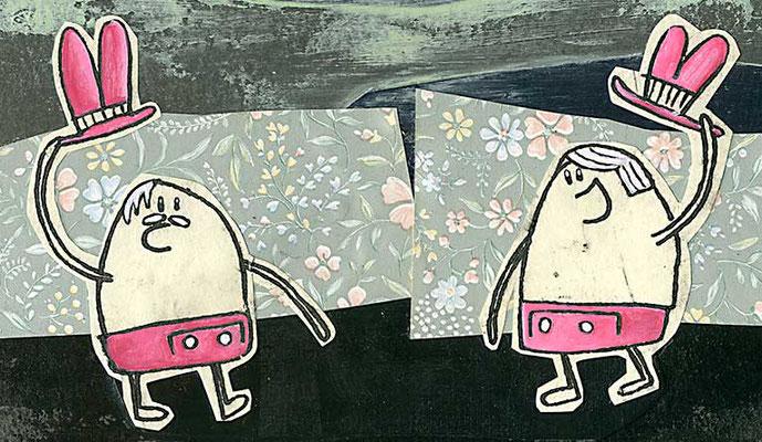 TACH!, Zwei Männer mit Hut begrüßen sich, Acryl auf Pappe © Frank Schulz 2014