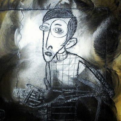 Detailansicht der Druckplatte für die Radierung nach dem Motiv Sylvia von Harden von Otto Dix