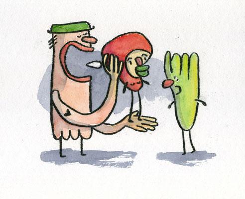 ROTKÄPPCHEN WIRD INSTRUIERT (Behind the Scenes), Zeichnung und Aquarell auf Papier von Frank Schulz Art