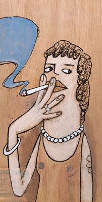 Rauchende mit Perlenkette | Zeichnung in Acryltechnik auf Zigarrenkiste
