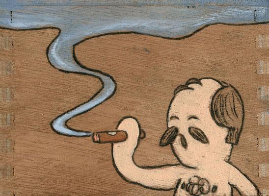 Zigarre rauchender Herr mit Brusthaar | Zeichnung in Acryltechnik auf Zigarrenkiste