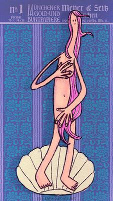 die Geburt der Venus, Tuschezeichnung und Collage in Photoshop, Frau in Muschel vor Blau von Frank Schulz Art, Meisterwerk Reloaded nach Botticelli