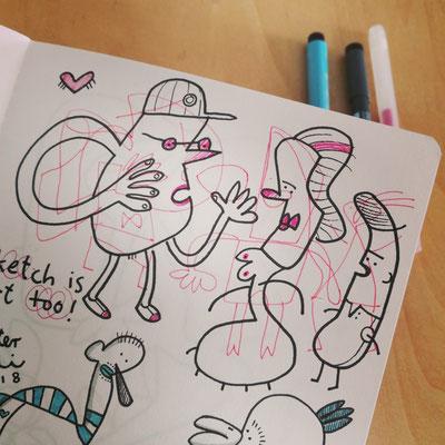 Skizzenseite Skizze ist Kunst, Zeichnung mit Tusche auf Papier von Frank Schulz Art, zeigt zwei Männer und eine Frau