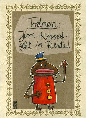 JIM KNOPF, Kleiner schwarzer Junge bekannt aus der Augsburger Puppenkiste, Acryl auf Holz