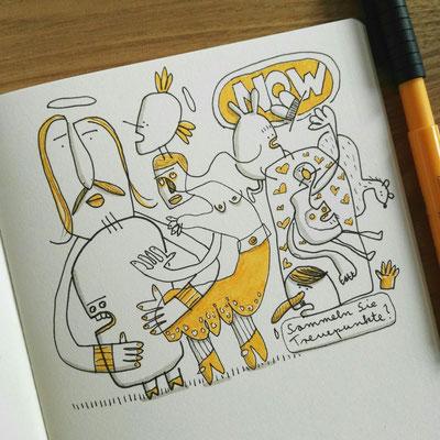 Skizzenbuch Seite Lebe jetzt, Zeichnung mit Tusche auf Papier und digitaler Farbe von Frank Schulz Art, zeigt verbundene Kreaturen