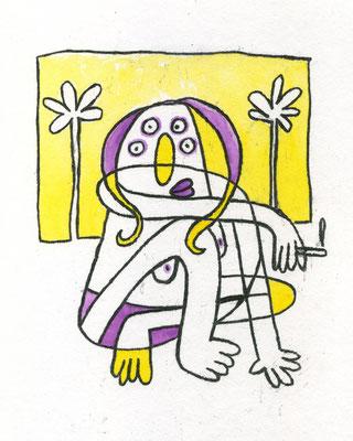 RAUCHENDE AM STRAND (Frau auf Gelb), Zeichnung und Aquarell auf Papier von Frank Schulz Art