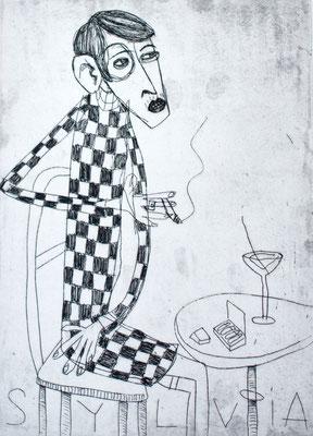 Sylvia von Harden, Radierung Frau an Bartisch von Frank Schulz Art, Meisterwerk Reloaded nach Otto Dix