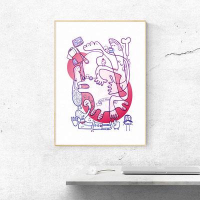 Das Motiv Einhorn in Panik als Fine Art Print, hier ein Mockup