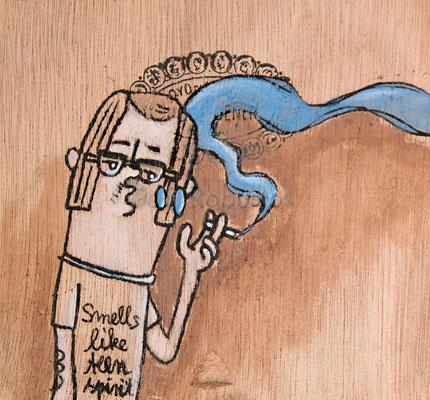 Nerd rauchend | Zeichnung in Acryltechnik auf Zigarrenkiste
