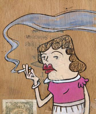 Frau mit schicker Bluse raucht | Zeichnung in Acryltechnik auf Zigarrenkiste