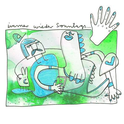 Illustration Meerjungfrau am Sonntag, Zeichnung mit Tusche auf Papier und digitaler Farbe von Frank Schulz Art, zeigt einen Wal, einen Hasen und einen Mann