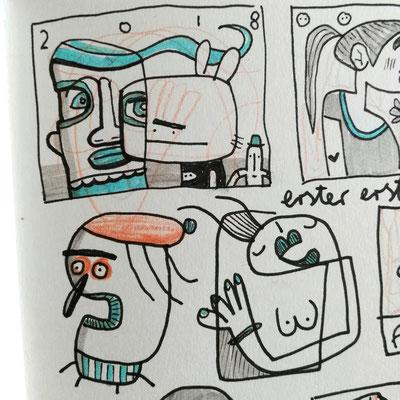 Detail aus dem Skizzenbuch von Frank Schulz Art zeigt comicartige Kreaturen