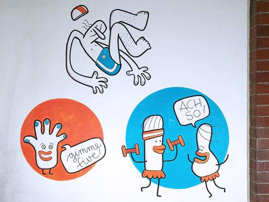 Aerobic und ein Sprung ins kalte Wasser auf einem Acryl Wandgemälde von Frank Schulz Art, Berlin.