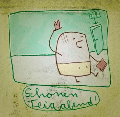 Kleiner Mann hat Feierabend, Digital kolorierte Zeichnung von Frank Schulz Art