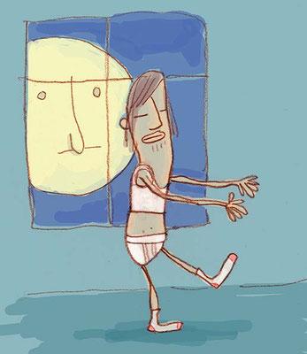 Thema Schlafwandeln, Digital kolorierte Zeichnung von Frank Schulz Art